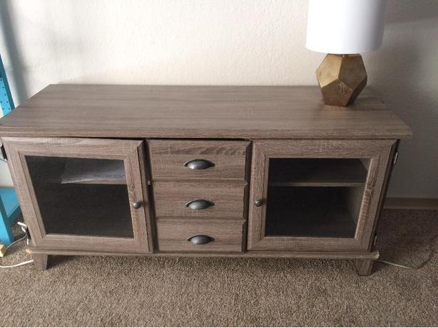 Rusic grey TV stand