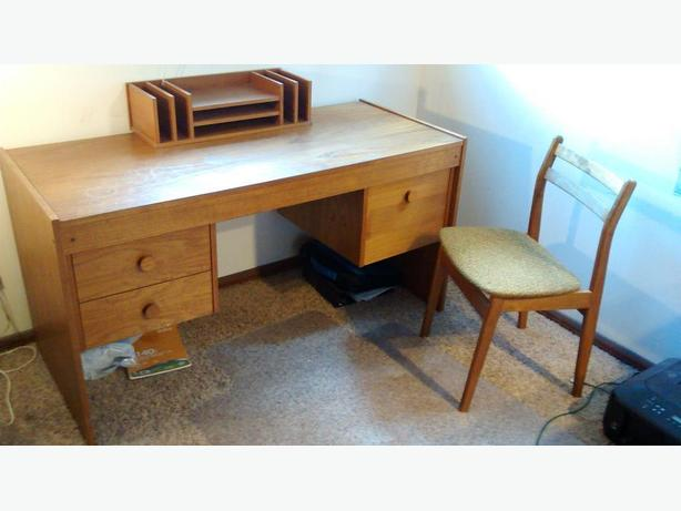 1970's Scandinavian Desk And Bookcase Set