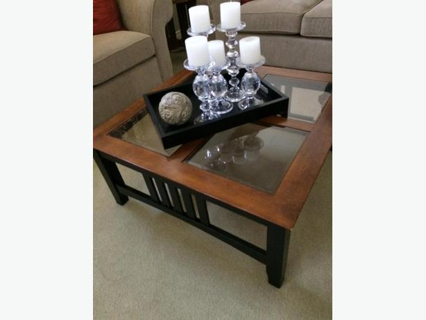 glass and wood. coffee table and side table