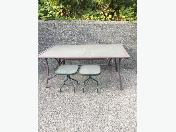 FREE: outdoor glass and metal table