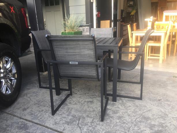 gluckstein patio set...brushed grey aluminum