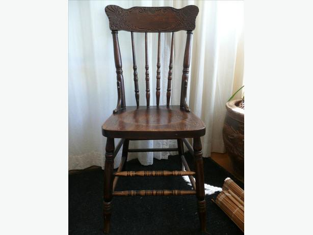 Vintage Oak Press Back Chair