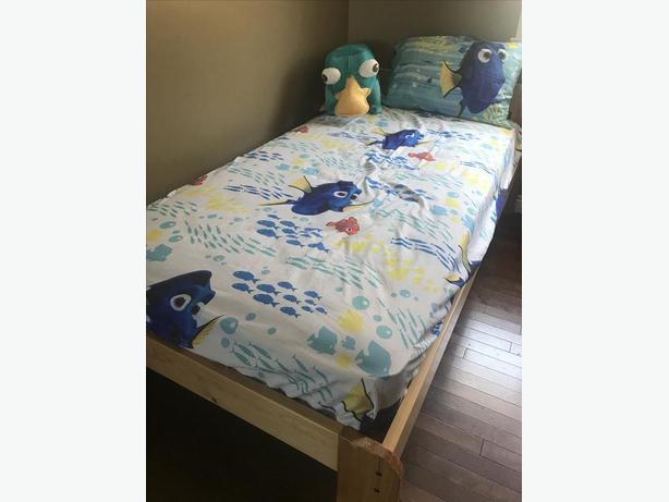Solid Pine Wood Single Bed & Mattress