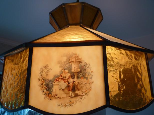ceiling light - antique stained glass chandelier - Ceiling Light - Antique Stained Glass Chandelier Saanich, Victoria