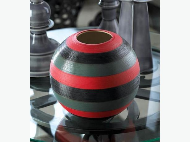 Modern Geometric Gray Striped Round Vase Tealight Candleholder & Candle Stands