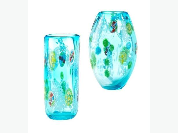 Decorative Blue Floral Glass Flower Vase 2 Styles Mix & Match Any 2 NEW