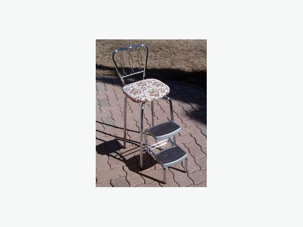 chair is chrome , vintage , retro , foldout down-steps