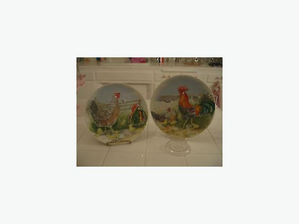 Rooster farmyard plates-wall decor ,art,,,two plates