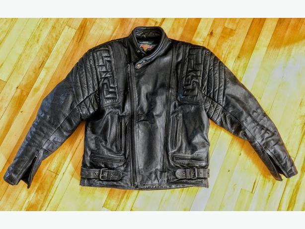 a05e3793cf8 1980s Akito T Force Cafe Racer Motorcycle Biker Leather Jacket Size 46  Large-XL