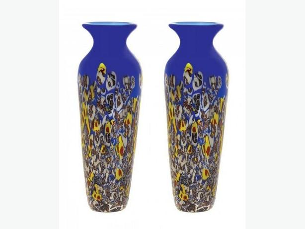 Tall Modern Multi-Color Abstract Art Glass Vase Royal Blue Top Set of 2 NEW
