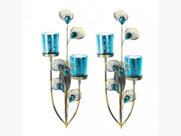 Peacock-Inspired Blue Candleholder Wall Sconce 2 Lot + Candles NEW