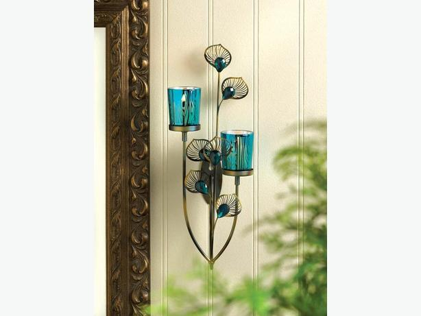 Peacock-Inspired Blue Candleholder Centerpiece Wall Sconce + 3PC Mix