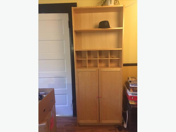 Good Used Condition IKEA Bookshelf Have Had For Many Years And Moved A Few Times So Has Some Well Loved Scratches Comes With Doors The Bottom Half
