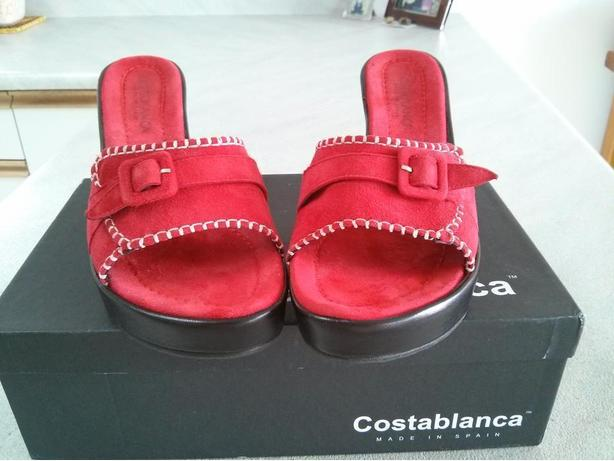 Red Suede Buckle Wedges Size 8B