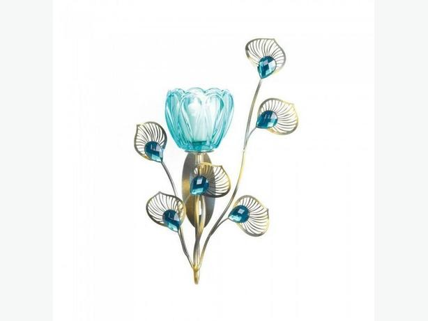 Peacock-Inspired Blue Candle Sconce 2 Styles Plume Detailing 4 Lot Choice