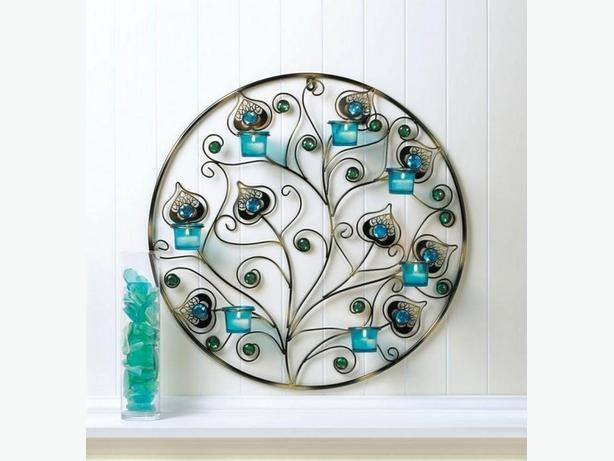Peacock-Inspired Blue Candle Sconce 3 Styles Plume Detailing 2 Lot Choice