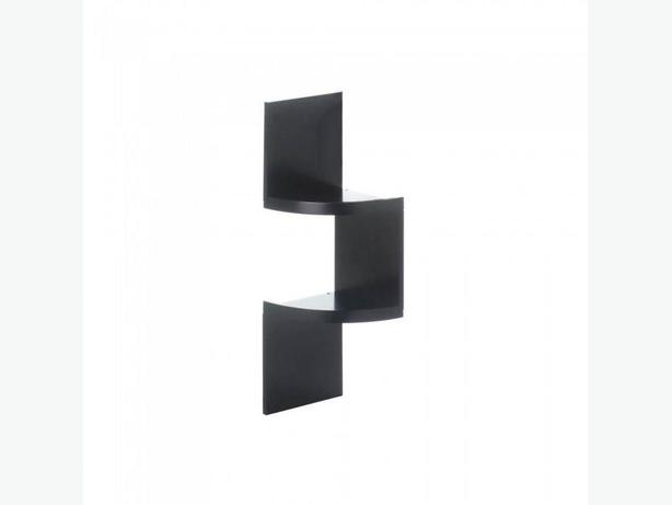 Versatile 2-Tier Zig Zag Corner Wall Shelf Black White Mix & Match Any 4 Wood