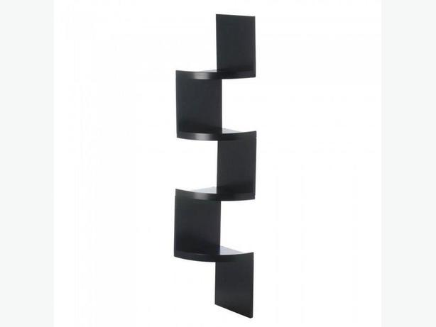 4-Tier Zig Zag Corner Wall Shelf Black White Mix & Match Any 2 Wood