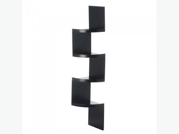4-Tier Zig Zag Corner Wall Shelf Black White Mix & Match Any 2 Wood