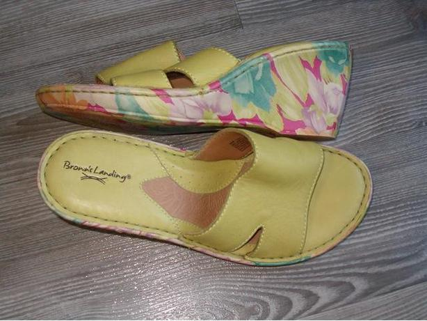 woman sandal by brown's landing color green,,candy ,