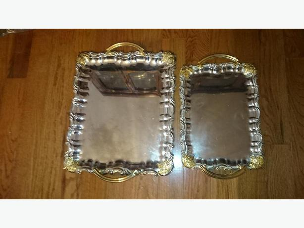2 Matching sterling Gold and Silver Serving Trays