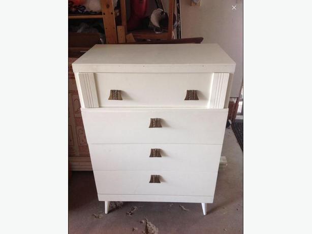 Solid Wood White Dresser with Antique Brass Hardware