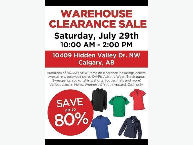 Warehouse Clearance Sale - Athletic Apparel