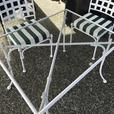 Small patio furniture 3 pieces steel and glass