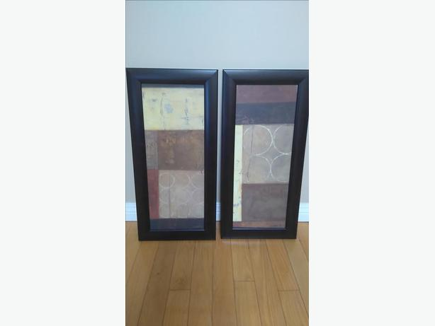 Set of 2 Nice Abstract Prints On Canvas in Nice Dark Woof Frame