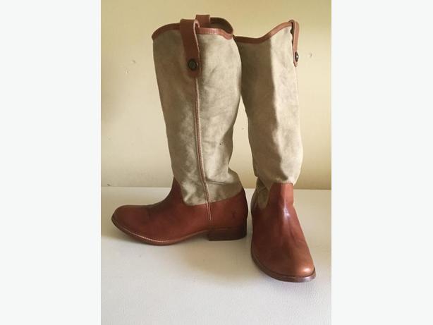 1fa5536fa6c Ladies Frye Melissa Button Kharki   tan leather knee high boots Size 9 US  40 EUR