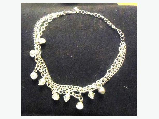 Silver Multi-Chain Anklet with Crystal Charms - Adjustable - NEW