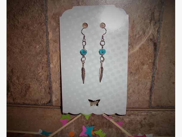 Dangle Silver Feather Earrings