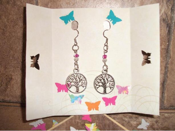 Long, dangle Tree of Life earrings