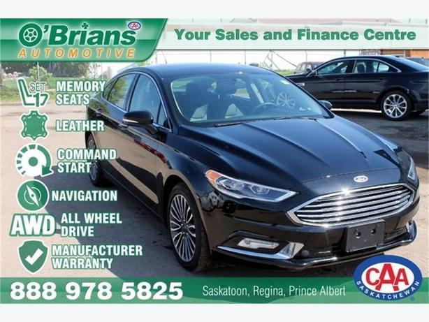 2017 Ford Fusion Titanium w/Mfg Warranty, Leather, Nav, Loaded!
