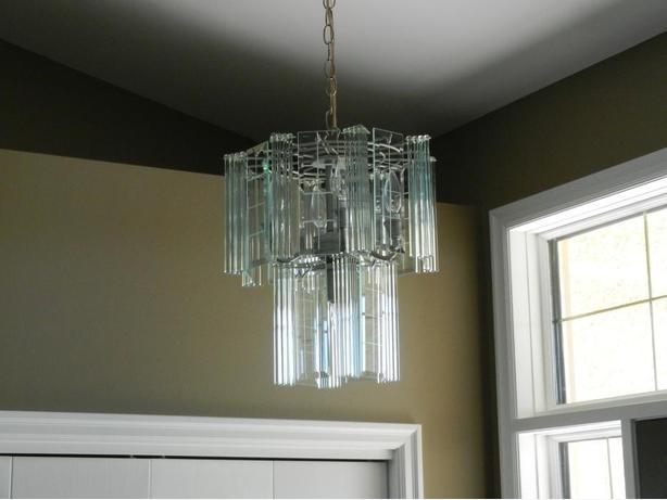 2 Satin Nickel and glass light fixtures