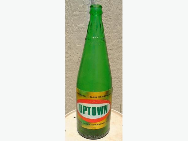 RARE 1969-70s VINTAGE PURE SPRING / UPTOWN SODA POP 30 oz BOTTLE