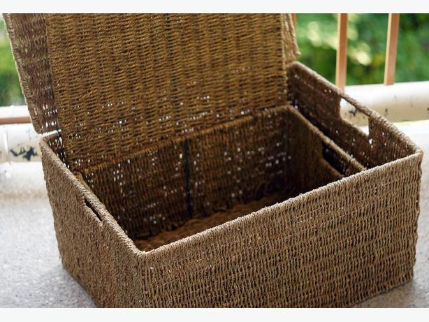 two big stylish basket boxes, natural rope on metal frame