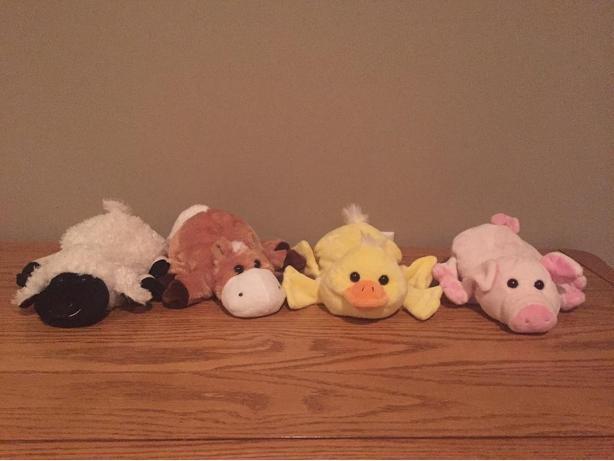 Farm animal puppets.
