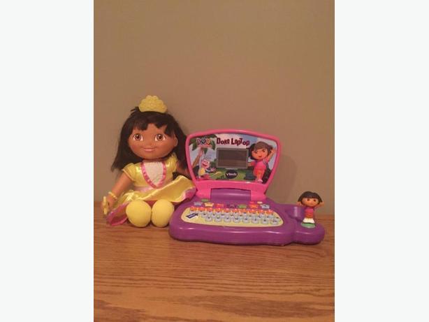 Dora the Explorer talking doll, ballerina doll and Dora the Explorer LapTop