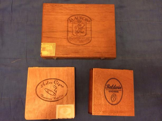 3 wooden cigar boxes