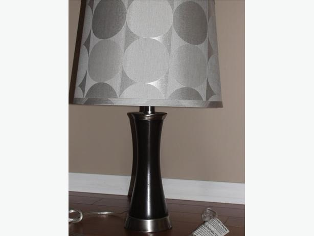 "20 1/2"" Tall Brown Table Lamp-Lampshade decorative circles"