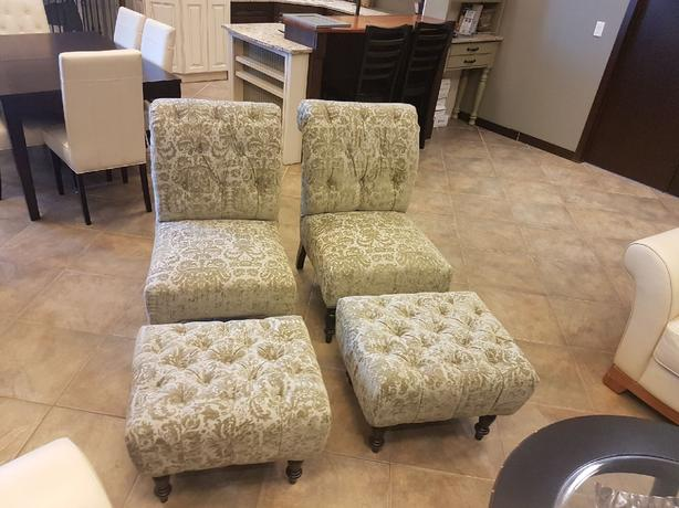 Traditional tufted accent chairs