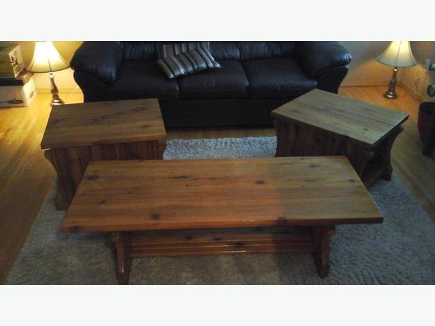 Handmade cedar coffee table and two end tables.