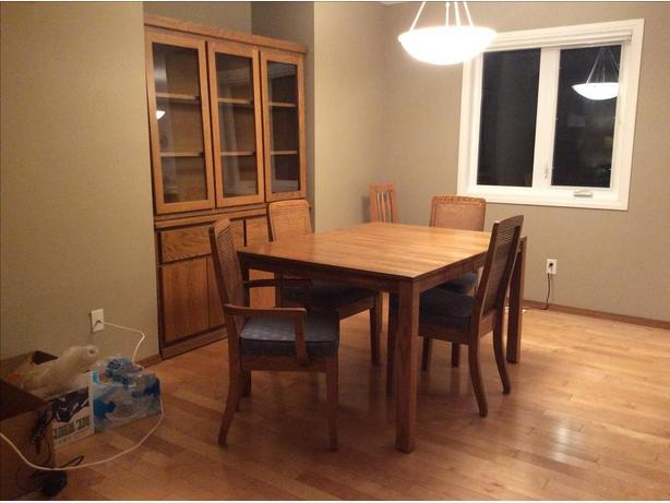 Oak dining room table and chairs;  Oak buffet and hutch