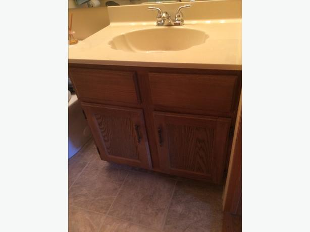 Bathroom vanity with sink and taps