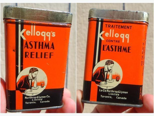 RARE 1920-30's VINTAGE KELLOGG'S ASTHMA RELIEF TIN - TORONTO, ONT.