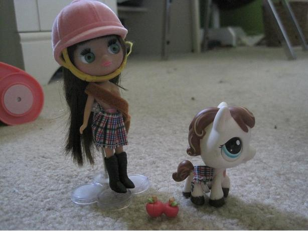 Littlest Pet Shop Playfully Plaid with horse #1616 and Blythe Doll