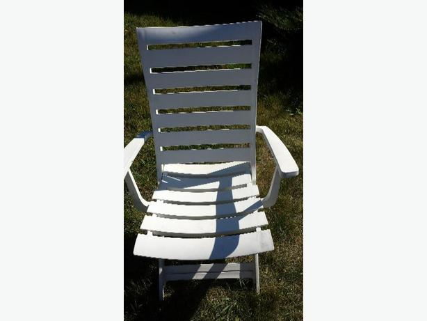 Two high back patio chairs