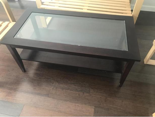 Glass Top Hard Wood Coffee Table