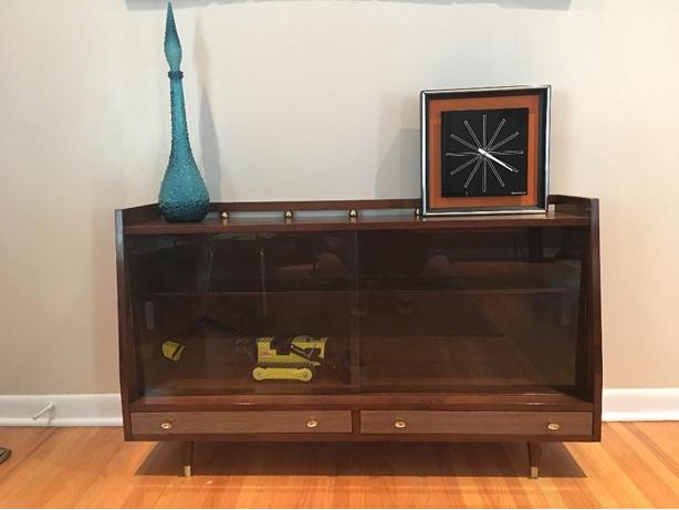 Mid Century Hutch with Glass Sliding Doors